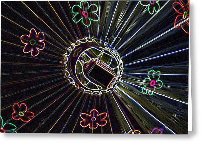 Hot Air Balloon Mixed Media Greeting Cards - Neon Balloon Greeting Card by Ernie Echols