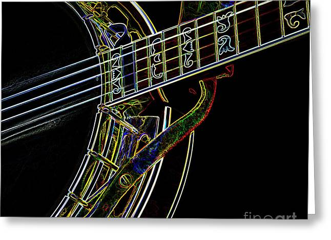Greeting Card featuring the photograph Neon Banjo  by Wilma Birdwell