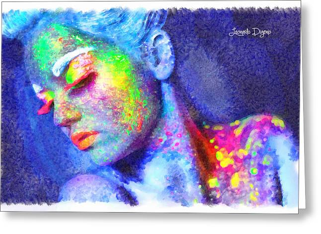 Neon Beauty - Da Greeting Card by Leonardo Digenio