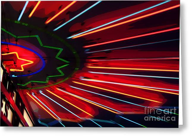 Neon Blast Greeting Card by Fred Lassmann