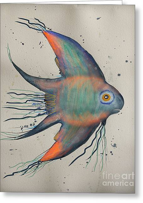 Greeting Card featuring the mixed media Neon Blue Fish by Walt Foegelle