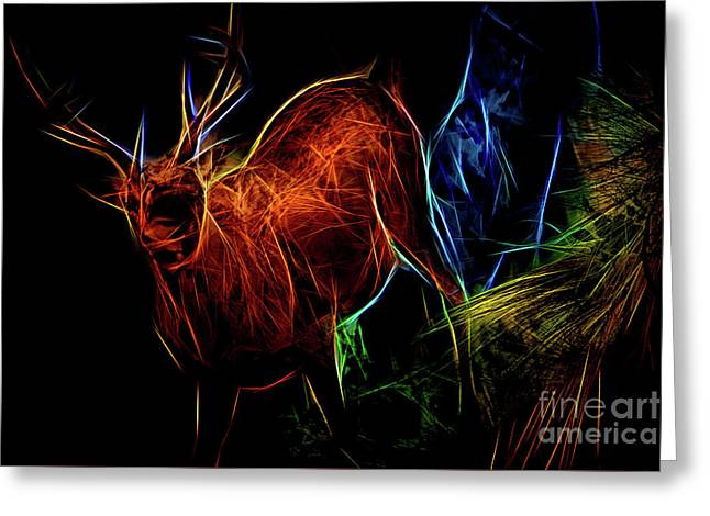 Greeting Card featuring the digital art Neon Buck by Ray Shiu