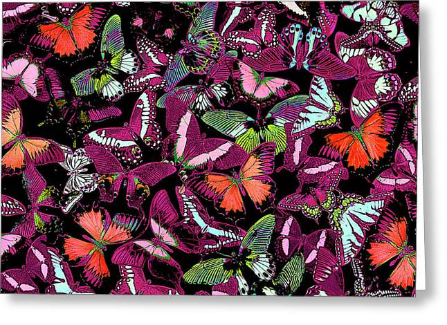 Neon Butterflies Greeting Card