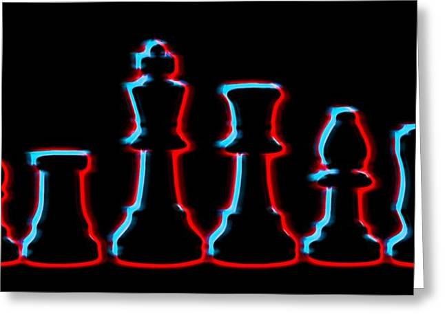 Neon Chess Pieces Greeting Card