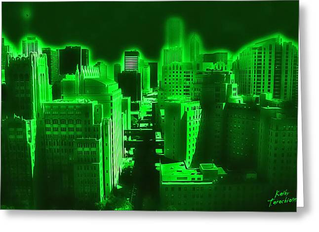 Neon Chicago Greeting Card by Kathy Tarochione