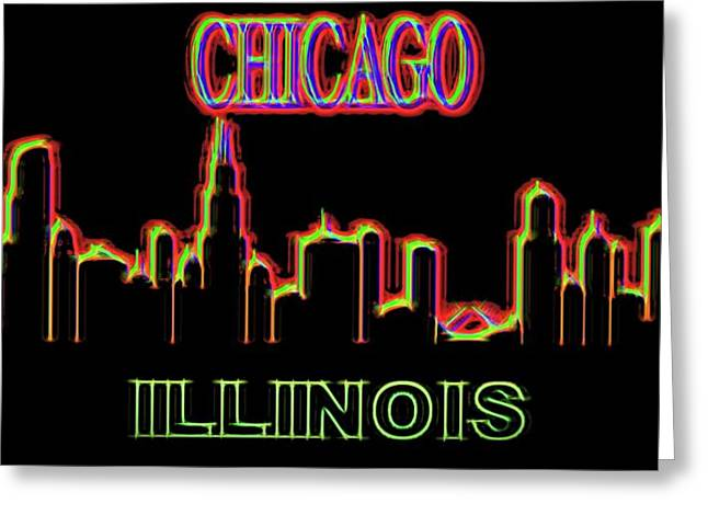 Neon Chicago Skyline Sign Greeting Card
