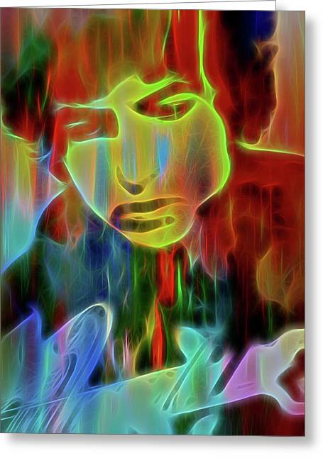 Neon Color Bob Dylan Greeting Card by Dan Sproul