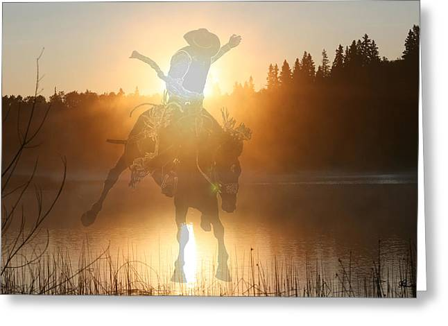 Neon Cowboy Greeting Card by Andrea Lawrence