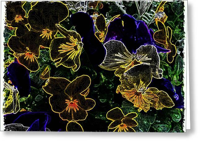 Neon Flowers Greeting Card
