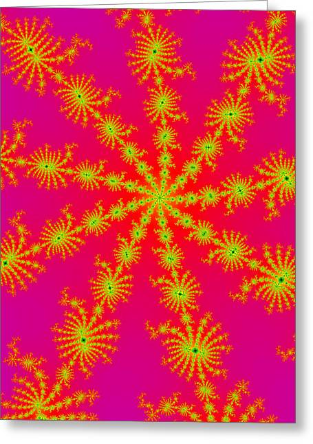 Neon Fractals Greeting Card