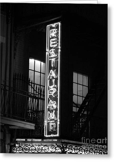 Neon French Quarter Bw Greeting Card by Joseph Baril
