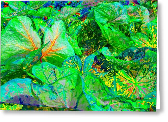 Greeting Card featuring the photograph Neon Garden Fantasy 1 by Marianne Dow