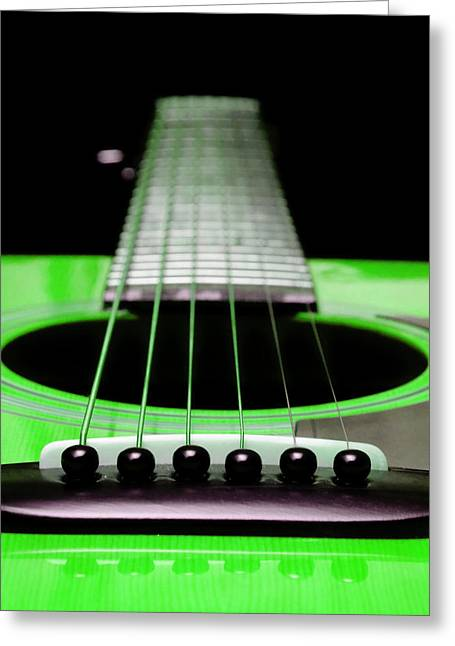 Andee Photography Greeting Cards - Neon Green Guitar 18 Greeting Card by Andee Design