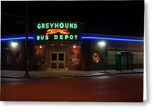 Greeting Card featuring the photograph Neon Greyhound Bus Depot Sign by Chris Flees