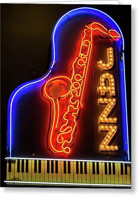 Neon Jazz Greeting Card