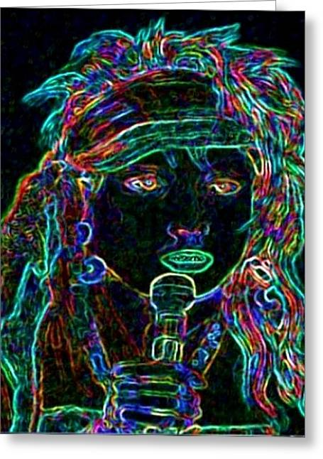 Neon Lady Greeting Card by Jerry  Stith