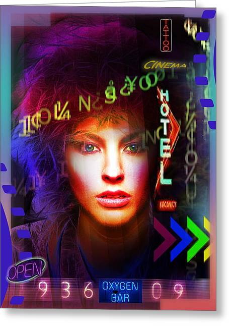Greeting Card featuring the digital art Neon Life by Shadowlea Is