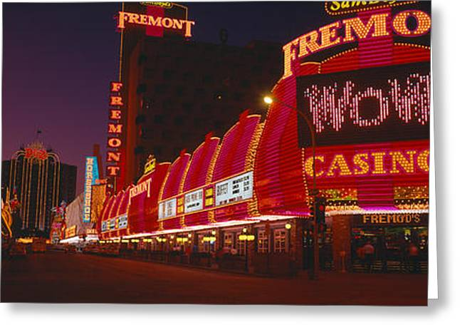 Neon Lights At Las Vegas, Nevada Greeting Card by Panoramic Images