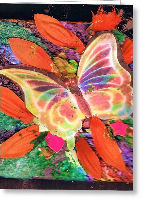 Neon Lights Butterfly On Boxed Canvas Greeting Card by Anne-Elizabeth Whiteway
