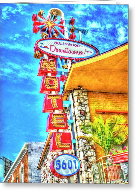 Neon Motel Sign Greeting Card by Jim and Emily Bush