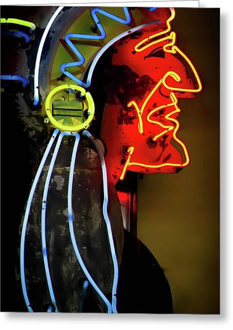 Neon Navajo Greeting Card by David Patterson