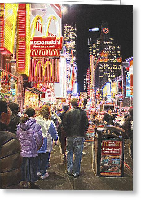 Neon Night Greeting Card by Scott Evers