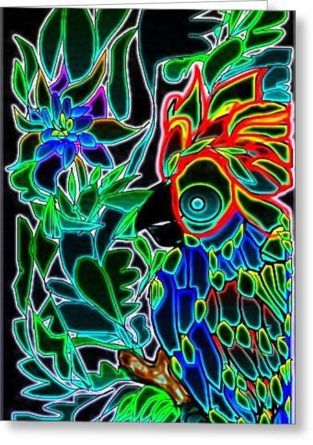 Greeting Card featuring the digital art Neon Parrot by Rae Chichilnitsky
