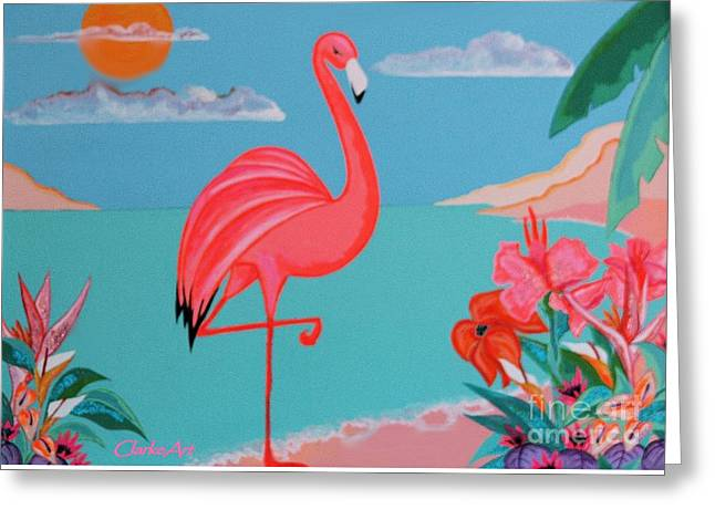 Neon Island Flamingo Greeting Card