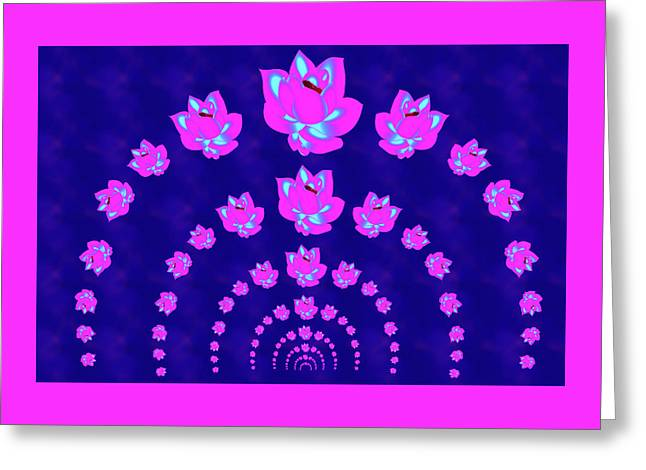 Neon Pink Lotus Arch Greeting Card