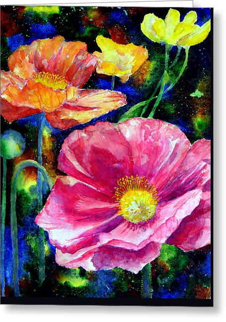 Neon Poppies Greeting Card by Mary Giacomini