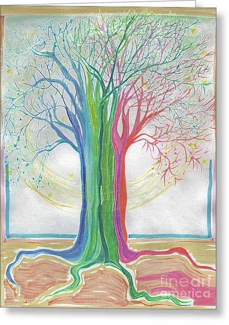 Neon Rainbow Tree By Jrr Greeting Card