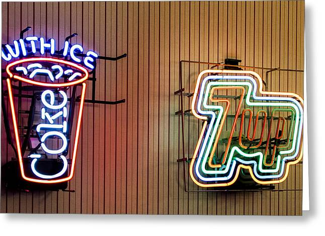 Neon Refreshments Greeting Card by Jon Berghoff