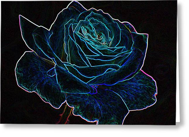 Neon Rose 3 Greeting Card by Ernie Echols