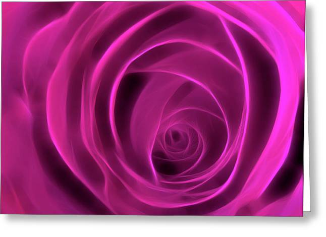 Neon Rose Centre - Cyclamen Greeting Card by Lesley Smitheringale
