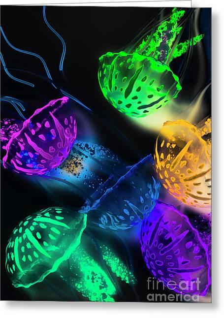 Neon Sea Life Greeting Card