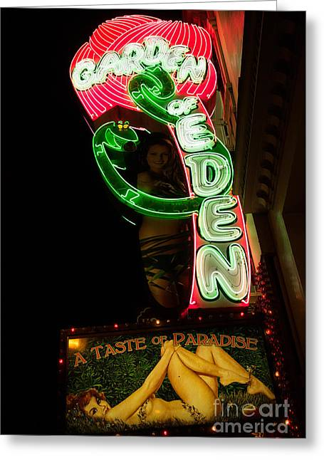 Greeting Card featuring the photograph Neon Sign At Night In North Beach San Francisco 1 by Jason Rosette
