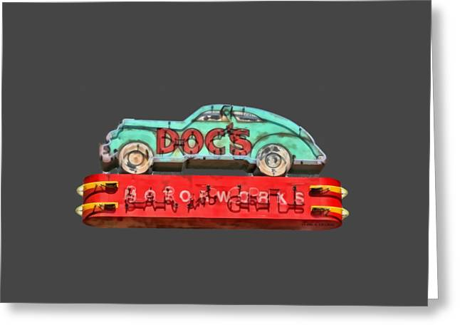 Neon Sign Docs Austin Texas Tee Greeting Card by Edward Fielding