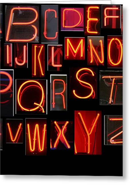 Neon Sign Series Featuring The Alphabet In Red Greeting Card by Michael Ledray