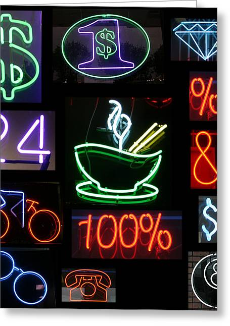 Neon Sign Series Of Various Symbols Greeting Card by Michael Ledray