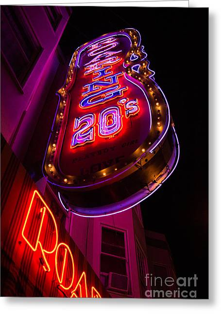 Greeting Card featuring the photograph Neon Signs At Night In North Beach Low Angle Ve by Jason Rosette