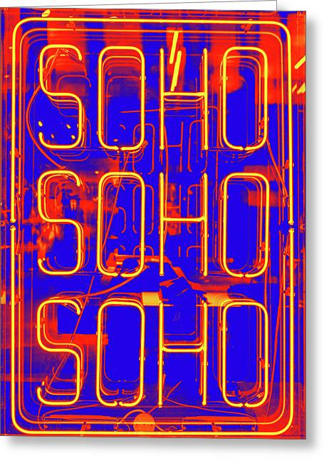 Neon Soho Sign Greeting Card