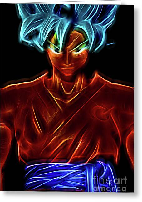 Neon Ss God Goku Greeting Card