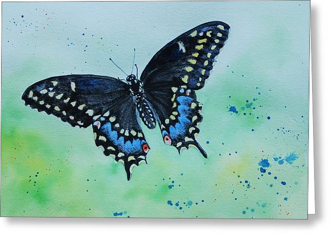 Neon Swallowtail Greeting Card