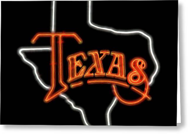 Greeting Card featuring the digital art Neon Texas by Daniel Hagerman