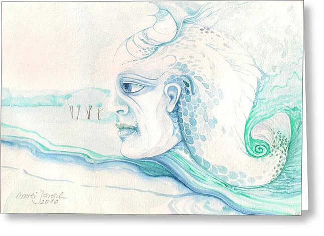 Neptune Greeting Card by Amrei Al-Tobaishi-Jarosch