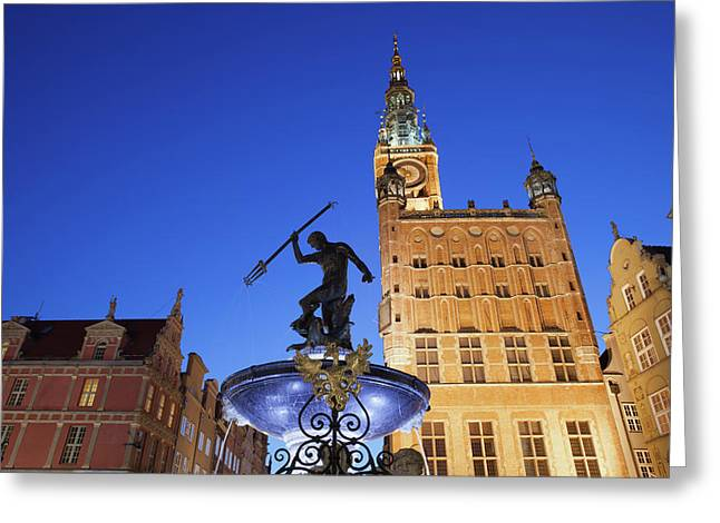 Neptune Fountain And Town Hall In Gdansk Greeting Card