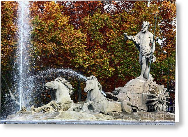 Neptune Fountain Paseo Del Prado Madrid Greeting Card by James Brunker