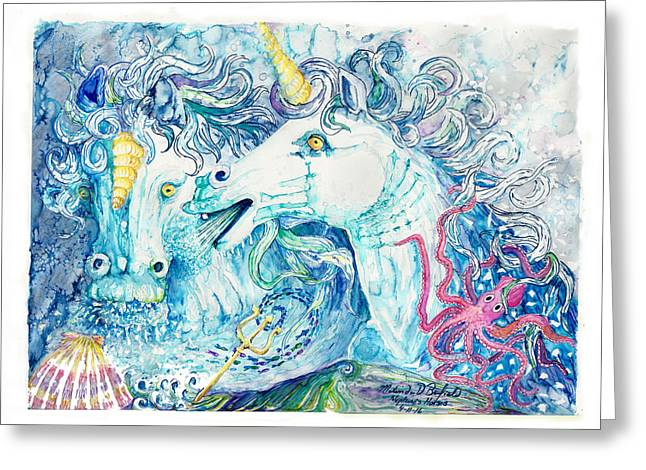Neptune's Horses Greeting Card by Melinda Dare Benfield