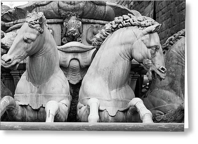 Neptune's Horses Greeting Card by Richard Goodrich