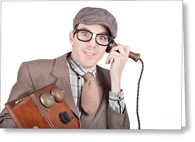 Nerd Businessman On A Funny Phone Communication Greeting Card by Jorgo Photography - Wall Art Gallery